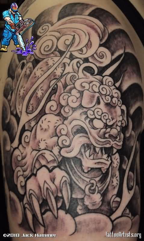 Grey Ink Asian Foo Dog Half Sleeve Tattoo
