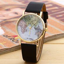 Stylový módní návrhář World Map hodinky módní kožené z lehkých slitin Ženy Casual analogové Náramkové hodinky ženám Doprava zdarma (Čína (pevninská část))