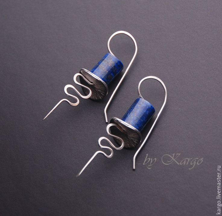 Купить Серьги Лазурит - тёмно-синий, необычные серьги, серьги, латунь, подарок девушке, серебряный