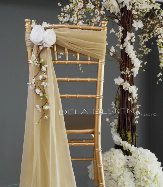 New Spring 2015 Wedding Chair Decor White Flower Accent - Beige and Gold by DelaDesignStudio