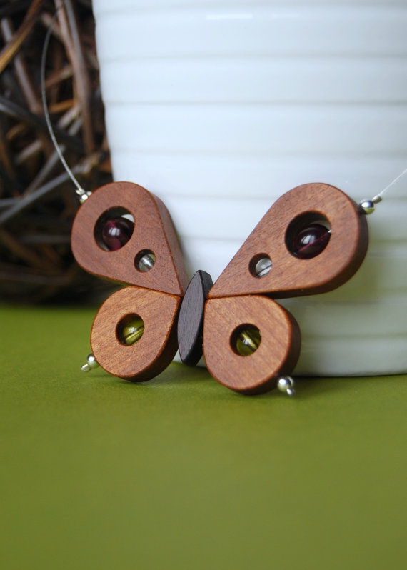 Wood butterfly necklace by 3dots