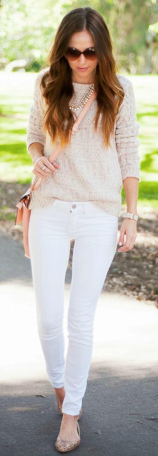 Comfy Beige Sweater + White Denim #spring #style