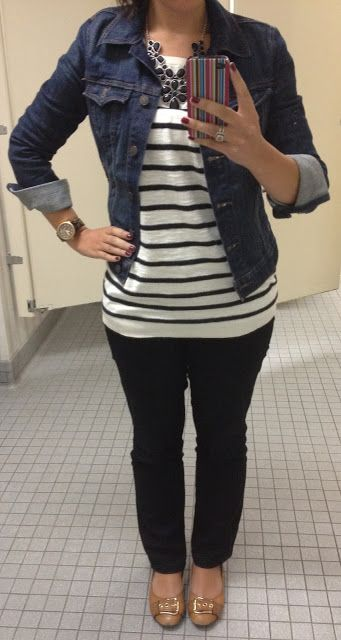 Black Pants + Stripes + Jean Jacket-mom on the go outfit i'm looking for! I have the jacket, now I need some colored jeans! (not big on black- too hot)