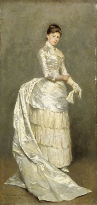 Portrait of Mrs. Claus in Her Wedding Dress  1886, by Emile Claus