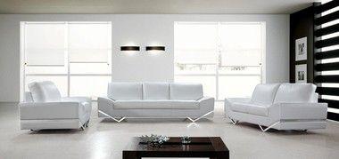 3 pcs Modern Angular Legs White Sofa Set with Sofa Loveseat Chair