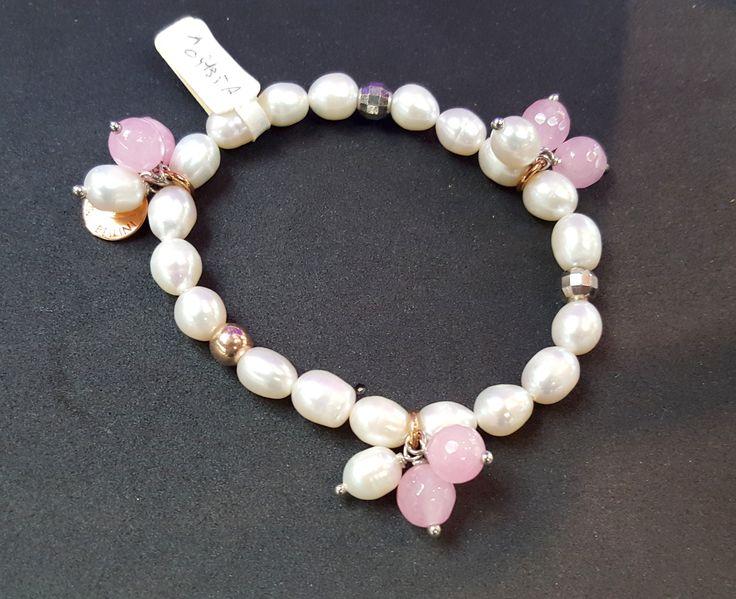 Laura Bellini Bracciale elastico perle e quarzi rosa