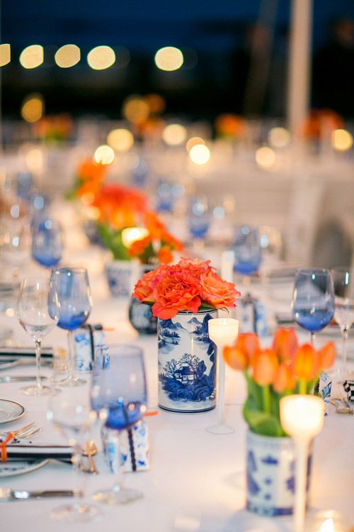 gorgeous navy and orange nautical style wedding, photo by Sarah Tew Photography | via junebugweddings.com