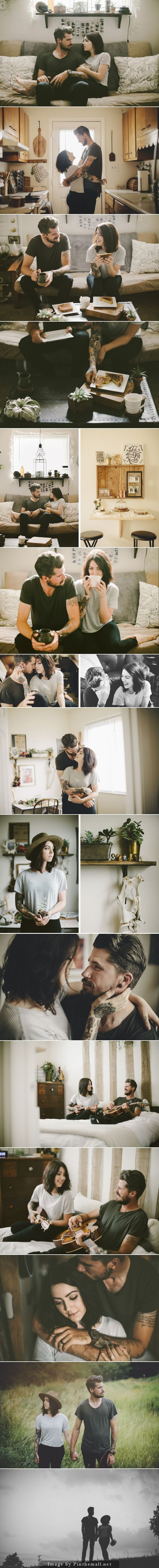 Personal couples photos in their home //