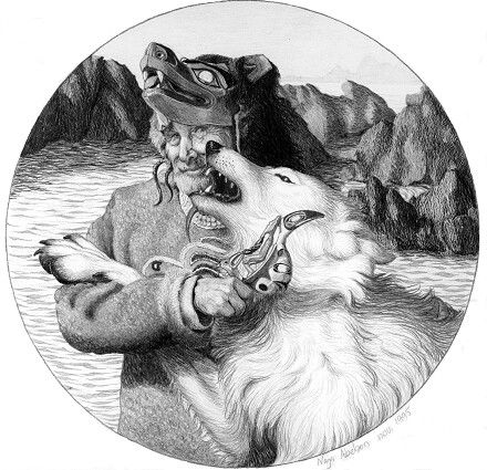 """The Tlingit Shaman"". Pencil drawing by Naja Abelsen. WOLF MYTH SERIES - www.123hjemmeside.dk/NajaAbelsen (original sold) Available as A3-photoprint 400 DKK / 54 Euro."