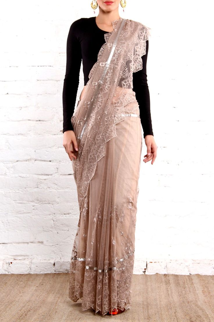 Beautiful Light Pinkish Brown Lace #Saree By Closet Rani Pink.