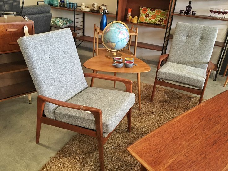 """Pair of Fler """"Norsk"""" armchairs - fully restored timber, new Warwick fabric"""