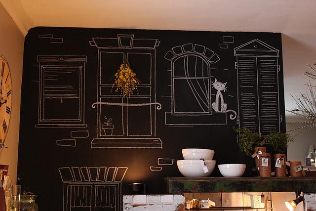 amazing chalkboard wall design by Inspired by Charm: Charm, Chalkboards, Idea, Chalkboard Walls, Chalk Board, Chalkboard Paint, Kitchen, Window Wall, Chalkboard Windows