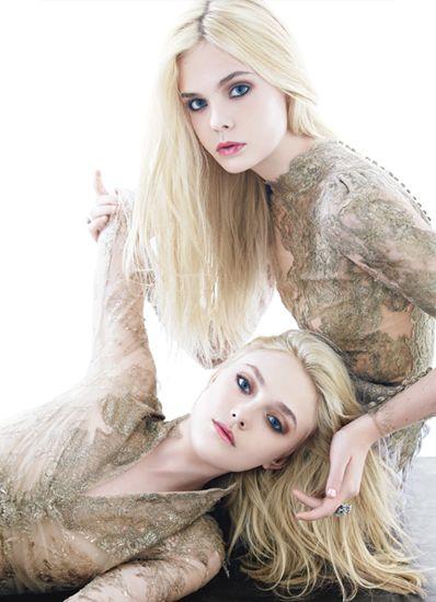 Elle and Dakota Fanning on the December 2011 cover of W. Elle Fanning (b. April 9, 1998), Dakota Fanning (b. February 23, 1994)