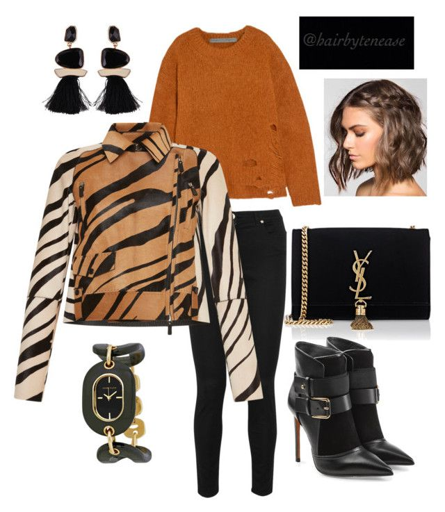 """""""Prints"""" by teneaseflowers ❤ liked on Polyvore featuring Raquel Allegra, Versace, Yves Saint Laurent, Balmain, Roberto Cavalli and Anne Klein"""