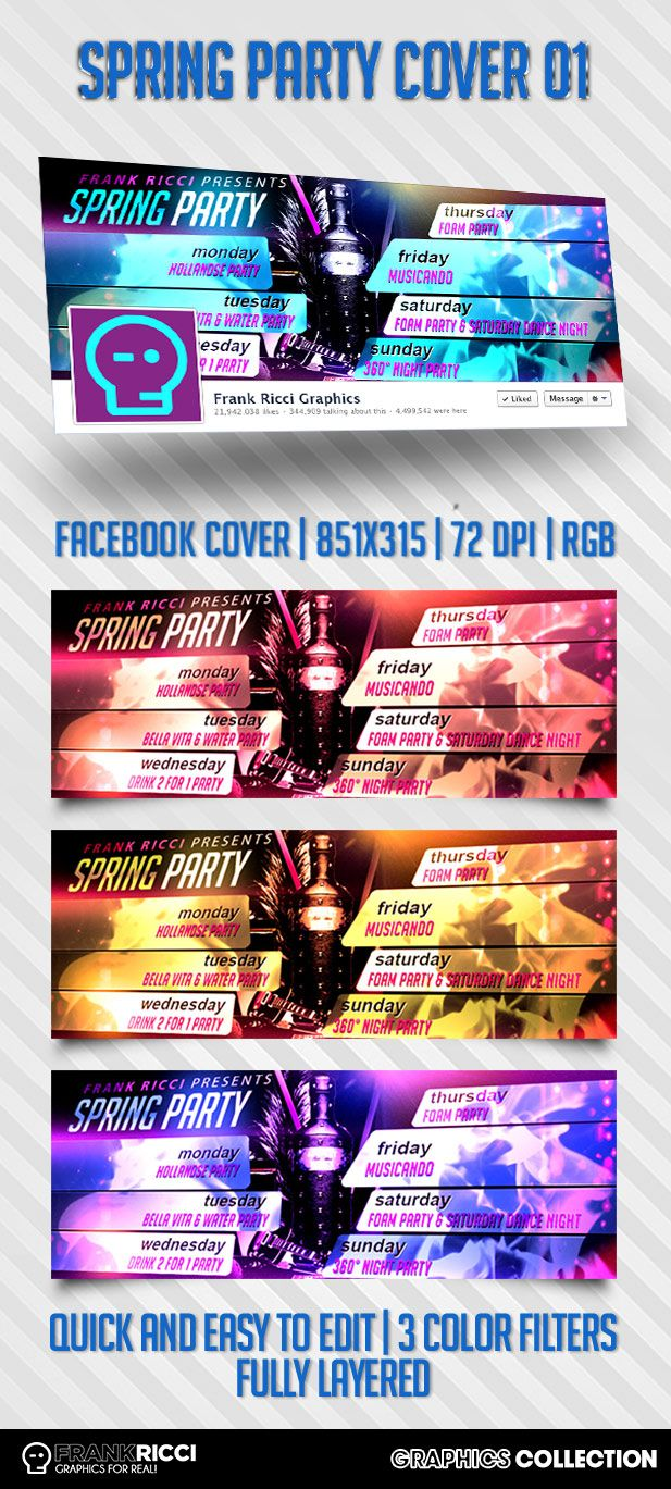Cover Facebook Spring Party 01 - New template available on http://frankricci.it/spring-party-cover-facebook-01/