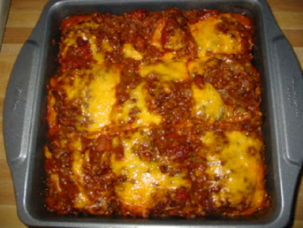 This recipe is so wonderful I had to share with everyone! Spicy and delicious - its like a Mexican Lasagna! Makes a lot of servings and would be great for those Cinco de Mayo parties! From allrecipes.com and Kathi McClaren.