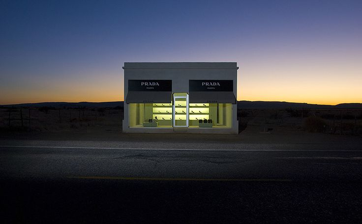Elmgreen & Dragset's 'Prada Marfa' - This isn't Photoshopped! It's a life-size sculpture in the West Texas desert built to mimic a Prada boutique. Amazing.