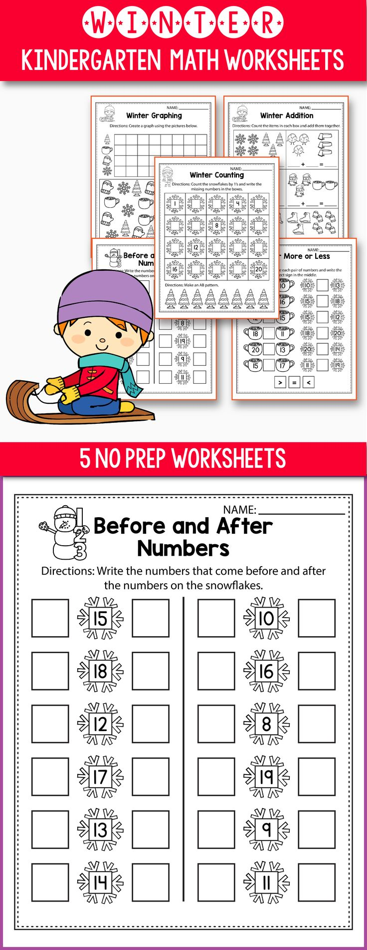 Winter Activities For Kindergarten (Math No Prep) - Winter Worksheets perfect for preschool, kindergarten or first grade kids. This worksheets feature polar bears, snowflakes, snowman and other adorable winter pictures. Great for morning work or early finishers. Winter math ideas including ten frames, place value, skip counting, tally marks, and 10 frames worksheets. Fun for students and print and go for teachers. #kindergarten #worksheet #free #math #preschool #1stgrade #prek