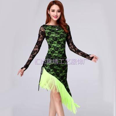 2015 Sexy Latin Dance Dress Women Latin Dance Costume 2 Pcs(Top+Skirt) Stage Costumes Tassel Ropa De Baile Cha Cha Dance Dress