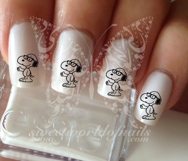 Nerd Snoopy Nail Art Nail Water Decals
