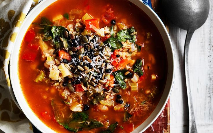 Barley and vegetable soup with crunchy seeds recipe - By Australian Women's Weekly, Keep warm this winter with this beautiful, filling soup with a nutritious seed topping.