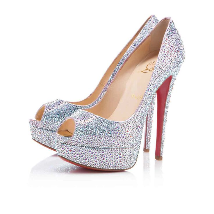Christian Louboutin Lady Peep 140mm Strass Silver