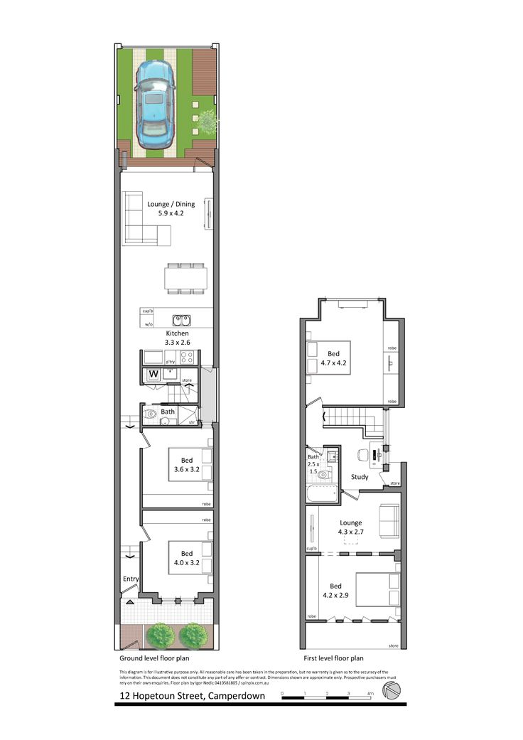 12 Hopetoun Street,Camperdown. Note bathroom + staircase in '3rd bedroom' and walk-in-robes right up to edge of door frame in first bedroom.  This place is build backwards into the roof space, but a similar floor plan might work with the majority of floor space set forwards over the rear.