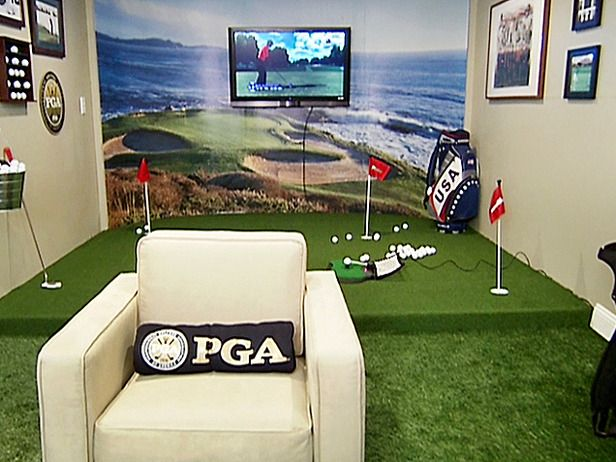 Great golf room idea! @Annie Compean Compean Compean wright show your brother ;)