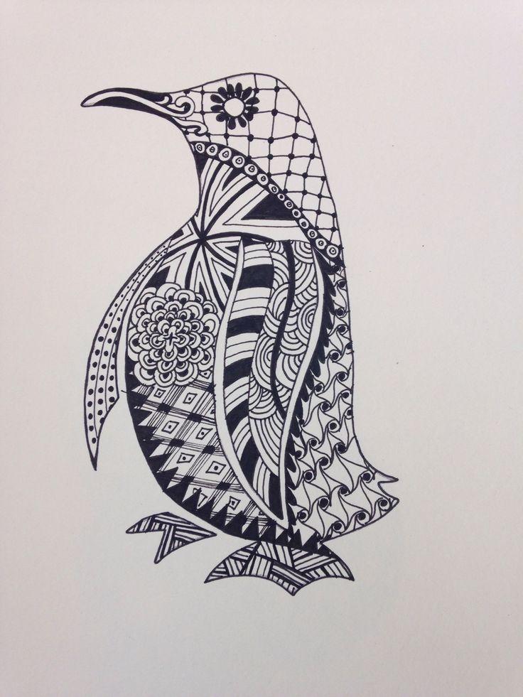 Penguin Zentangle Zentangle Doodles Zendalas Pinterest