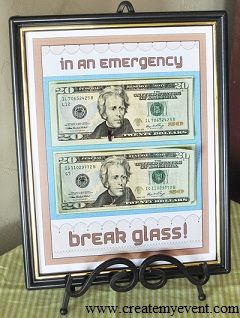 Last Minute Birthday Gift Ideas - Break Glass in an Emergency,,,Great Idea!! I'll probably do this for My Daughter's Birthday Next Year..They'll be 14 yrs.old & 5  yrs.old Christina & Rebecka GRENON_Garcia  :)