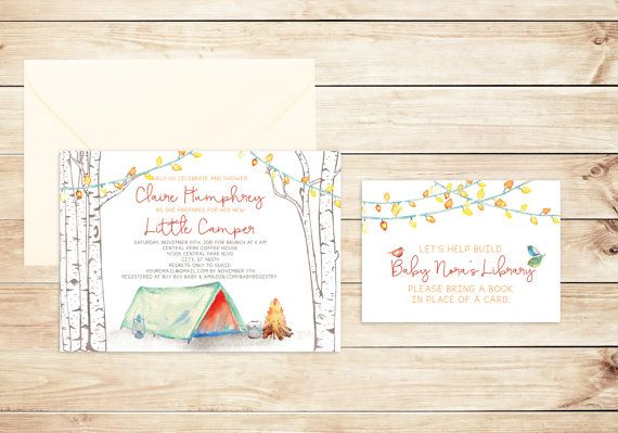 Camping Invitation Baby Shower Tent Little Camper by HewittAvenue