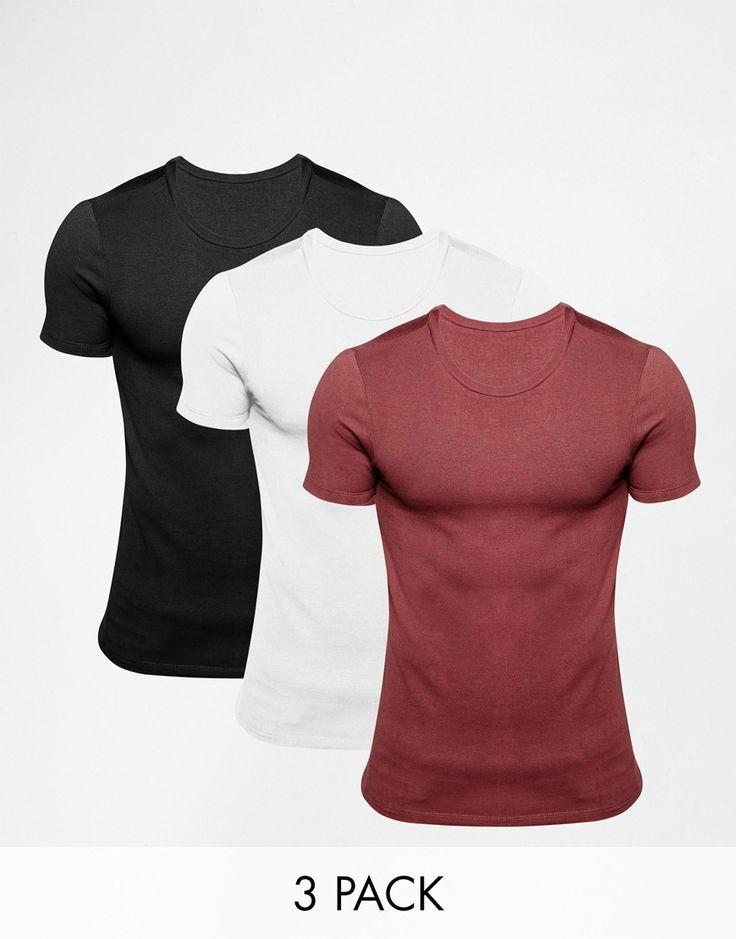 Muskelshirt T-Shirt von ASOS sehr elastischer Jerseystoff Rundhalsausschnitt eng geschnittene Ärmel sitzt eng am Körper superenge Passform Maschinenwäsche 94% Baumwolle, 6% Elastan Unser Model trägt Größe M und ist 185,5 cm/6 Fuß, 1 Zoll groß Dreierset