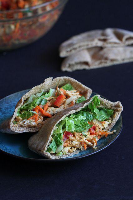 Thai Chicken Pita Sandwich Recipe with Peanut Sauce | cookincanuck.com by CookinCanuck, via Flickr