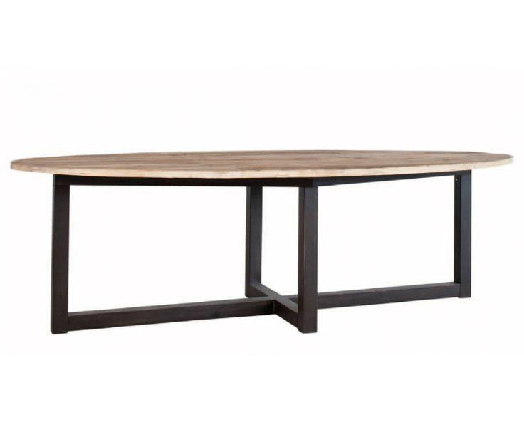 Eettafel, diningtable, metaal onderstel, grof tafel blad, ovaal, old teak