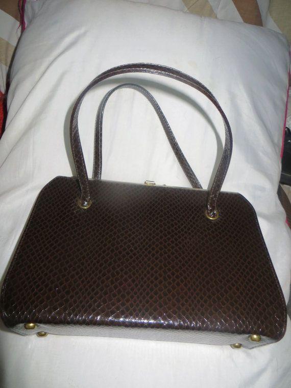 Vintage 1950's An Air Step Handbag Brown by Linsvintageboutique