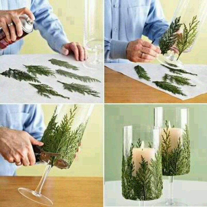 Fake Pine Tree Candle Holder Decoration | I think I will spray paint this a silver glitter and then attach