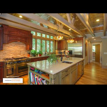 Natural Stone Kitchen Backsplash   Traditional   Kitchen   Realstone Systems Like  Some Elements Of