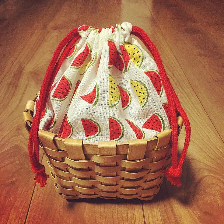 100均の手ぬぐいとカゴで♡浴衣に似合う巾着バッグの作り方 | Handful