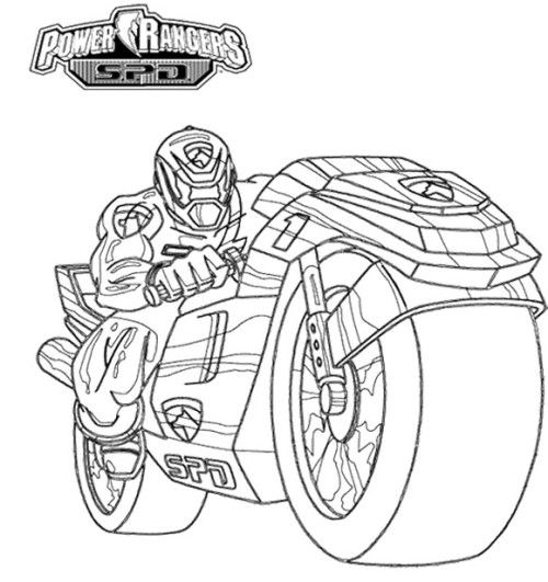 Power Rangers Spd With Motorcycle Coloring Page Kids