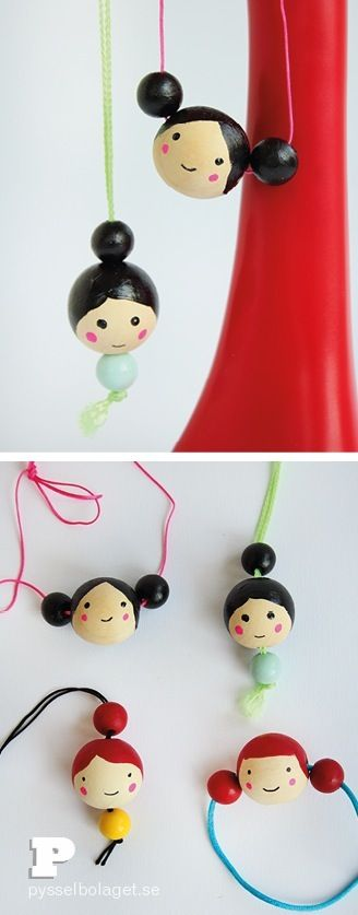 Pysselbolaget wood bead doll face necklace craft for kids