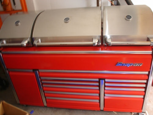 snap on tools epic triple bank tool box grill bbq barbacue. Black Bedroom Furniture Sets. Home Design Ideas