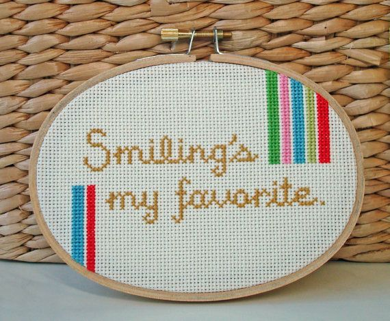 Cross stitch quote from Elf by notsomodernmillie on Etsy, $15.00