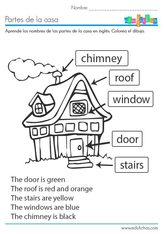 Ficha educativa coloreable para aprender las partes de la casa en inglés. Descarga nuestras fichas educativas gratis para casa o como recurso para el aula.