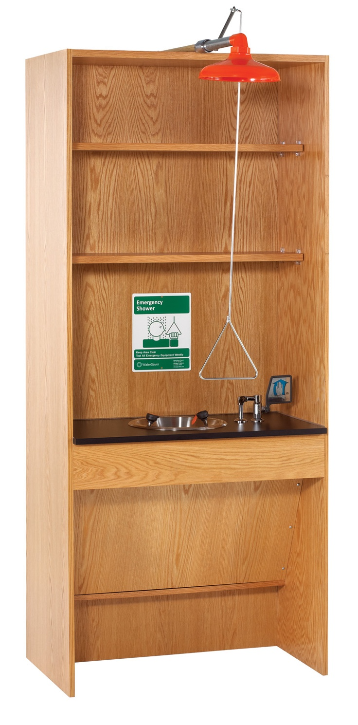 """Emergency safety station features oak and oak veneer construction. Unit has an emergency drench shower of high impact ABS plastic with a stay open chrome plated brass valve. The eyewash is a 10"""" diameter stainless steel bowl, with lever action ball valve on a High Pressure Laminate top. Upper storage space is supplied with two adjustable shelves. The lower part of the unit has access for a wheelchair. (DW_6900K)"""