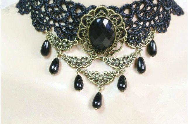 Siyah dantel yaka, gotik boyunluk, 2014 moda takı-Kolye-ürün Kimliği:1556528678-turkish.alibaba.com