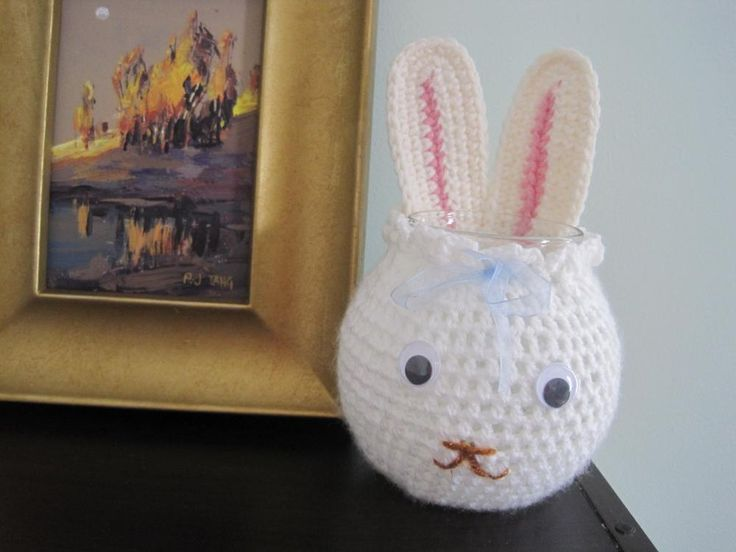 Crochet Bunny Cozy for Glass Bowl and More - white. #bunny #crochet