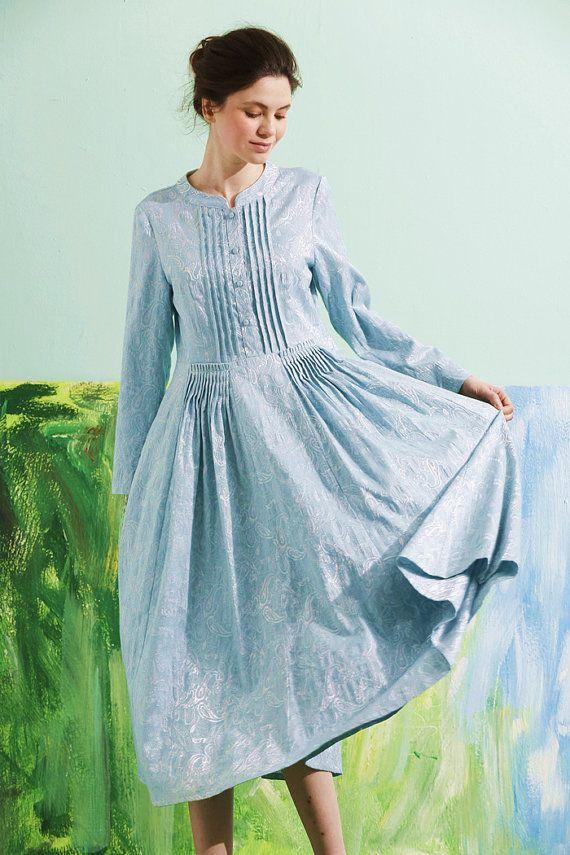 long linen dress in light blue, long sleeve dress, winter dress, spring dress, maxi dress, bridesmaid dress, evening dress, plus size