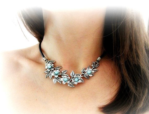 Branch necklace blue flowers blossom choker necklace silver