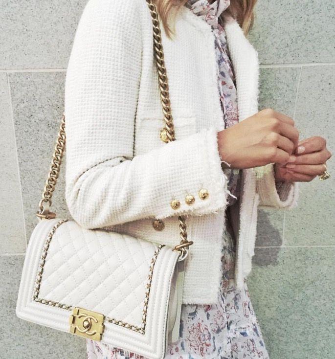 White Chanel boy bag.