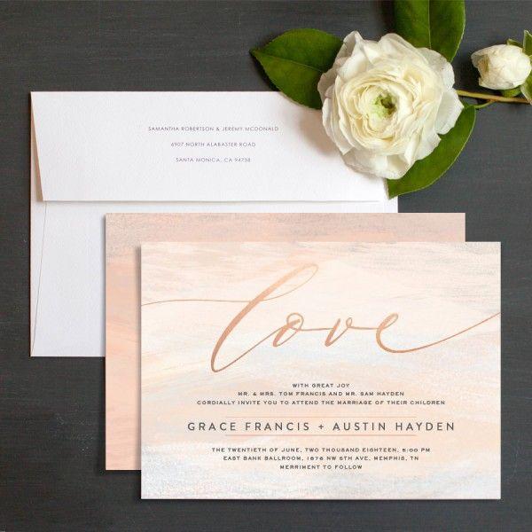 Artistic Love Wedding Invitations in blush pink